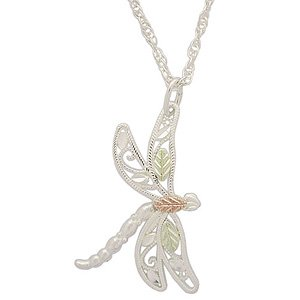 Black Hills Gold Necklace On Silver Small Dragonfly