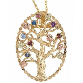 Black Hills Gold Brooch Necklace Tree 7 Birthstones