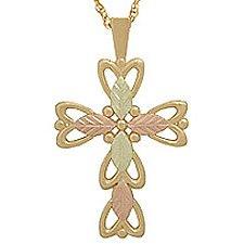 Black Hills Gold Necklace 5 Leaves Cross