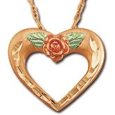 "Black Hills Gold Rose Pink Gold 3/4"" Heart Necklace"