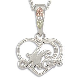 Black Hills Gold MOM Silver Heart Necklace