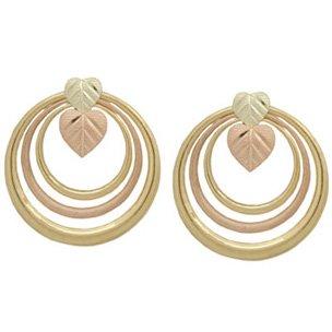 Black Hills Gold Earrings Heart Shaped Leaves Rings Post
