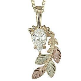 Black Hills Gold Pendant Necklace Pear Cubic Zirconia