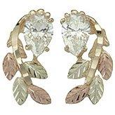 Black Hills Gold Earrings Pear Cubic Zirconia Post