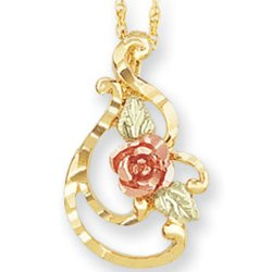 Black Hills Gold Rose Frilly Pendant Necklace