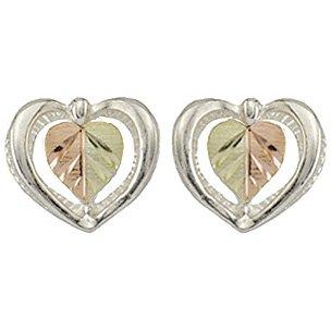 Black Hills Gold Earrings Hearts & Silver Post