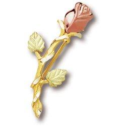 Black Hills Gold Rosebud With Stem Brooch