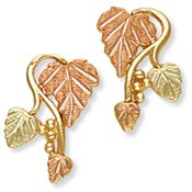 Black Hills Gold 3 Leaves & Grapes Post Earrings
