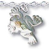 "Black Hills Gold Silver Frog Chain 10"" Anklet"