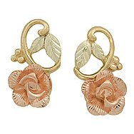 Black Hills Gold Earrings Rose & 10K Vines Post