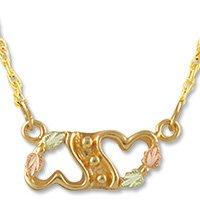Black Hills Gold 2 Heart Festoon Chain Necklace