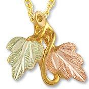 Black Hills Gold 2 Leaves Vines Pendant / Necklace