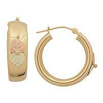 "Black Hills Gold Earrings 3/4"" Hoop Latch"