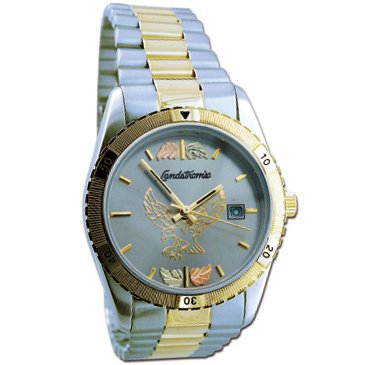 Black Hills Gold Eagle Mens Watch Silver Tone Face