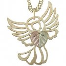 Black Hills Gold Necklace Heart On Delicate Angel