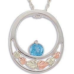 Black Hills Gold Blue Topaz Silver Slider Necklace