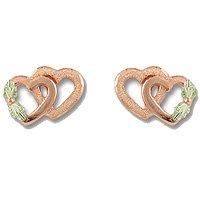 Black Hills Gold 10K Pink Gold Double Heart Earrings