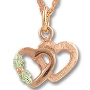 Black Hills Gold 10K Pink Gold Double Heart Necklace