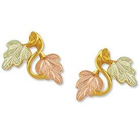 Black Hills Gold 2 Leaves Vines Post Earrings