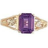 Black Hills Gold Ring Ladies Amethyst Emerald-Cut