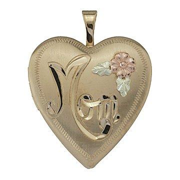 "Black Hills Gold Locket Necklace Heart ""Mom"""