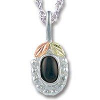 Black Hills Gold Black Onyx Cabochon Silver Necklace