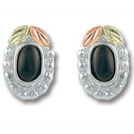 Black Hills Gold Black Onyx Cabochon Silver Earrings
