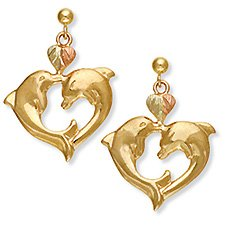 Black Hills Gold 2 Dolphins Heart 10K Gold Earrings