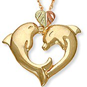 Black Hills Gold 2 Dolphins Heart 10K Gold Necklace