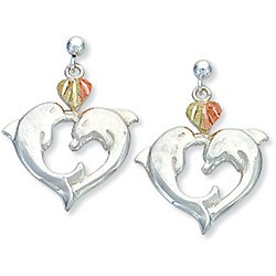 Black Hills Gold 2 Dolphins Heart Silver Earrings