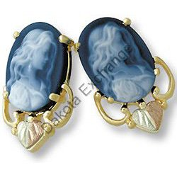 Black Hills Gold Pretty Girl Blue Agate Cameo Earrings