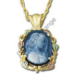 Black Hills Gold Attractive Girl Blue Agate Cameo Necklace NEW