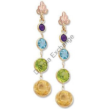 Black Hills Gold Amethyst Blue Topaz Citrine Peridot Earrings