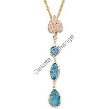 Black Hills Gold Leaf 3 Blue Topaz Dangle Necklace