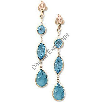 Black Hills Gold Leaf 3 Blue Topaz Dangle Post Earrings