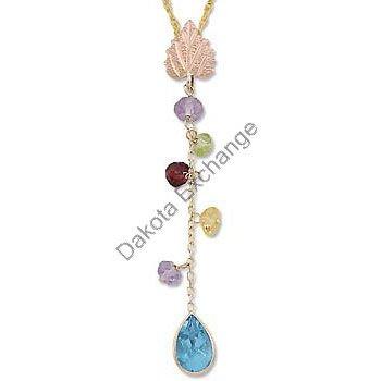 Black Hills Gold Multi Genuine Gemstone Dangle Necklace