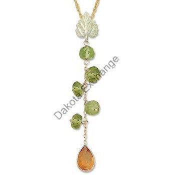 Black Hills Gold Peridot & Citrine Dangle Necklace