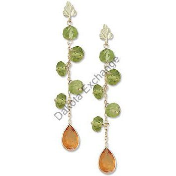 Black Hills Gold Peridot Citrine Dangle Post Earrings