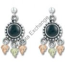 Black Hills Gold Antiqued Black Onyx Silver Earrings