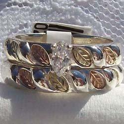 Black Hills Gold Ring Wedding Set Inlaid In Silver CZ