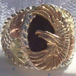 Black Hills Gold Ring Mens Onyx 10K Eagle Silver
