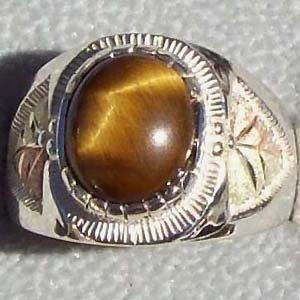 Black Hills Gold Ring Mens On Silver Oval Tiger's Eye