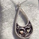 Black Hills Gold Necklace Antiqued Silver Teardrop