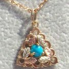 Black Hills Gold Necklace Turquoise Cabochon Triangle