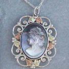 Black Hills Gold Necklace Mother Of Pearl Lady Cameo Silver