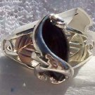 Black Hills Gold Ring Ladies Black Onyx Cabochon Sterling Silver