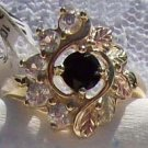 Black Hills Gold Ring Ladies Black Onyx 5 White Zircons