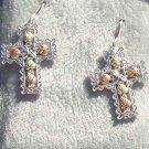 Black Hills Gold Earrings 5 Leaf Silver Filigree Cross