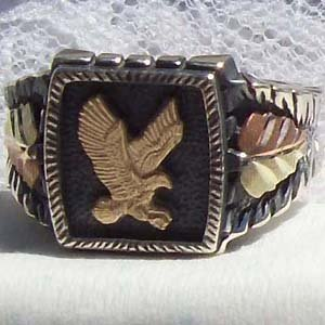 Black Hills Gold Ring Mens 10K Eagle Oxidized Silver