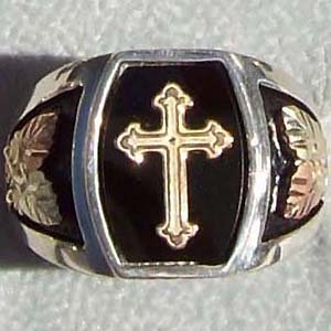 Black Hills Gold Ring Mens Black Onyx 10K Cross Sterling Silver